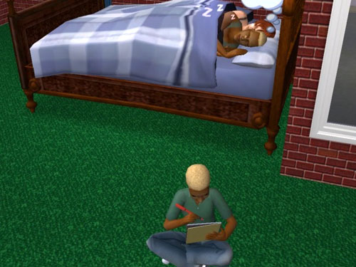 Gabriel does his homework while Gina and Dawson sleep