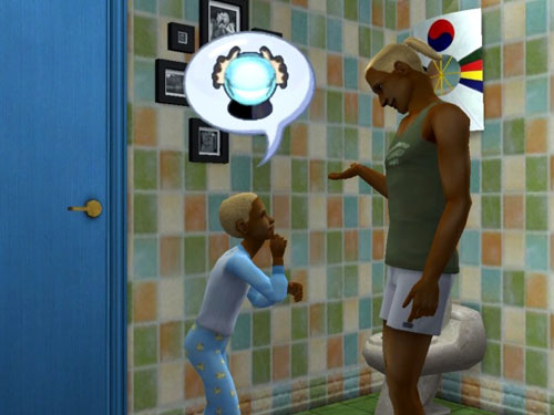 Gabriel and Dawson talk in the bathroom